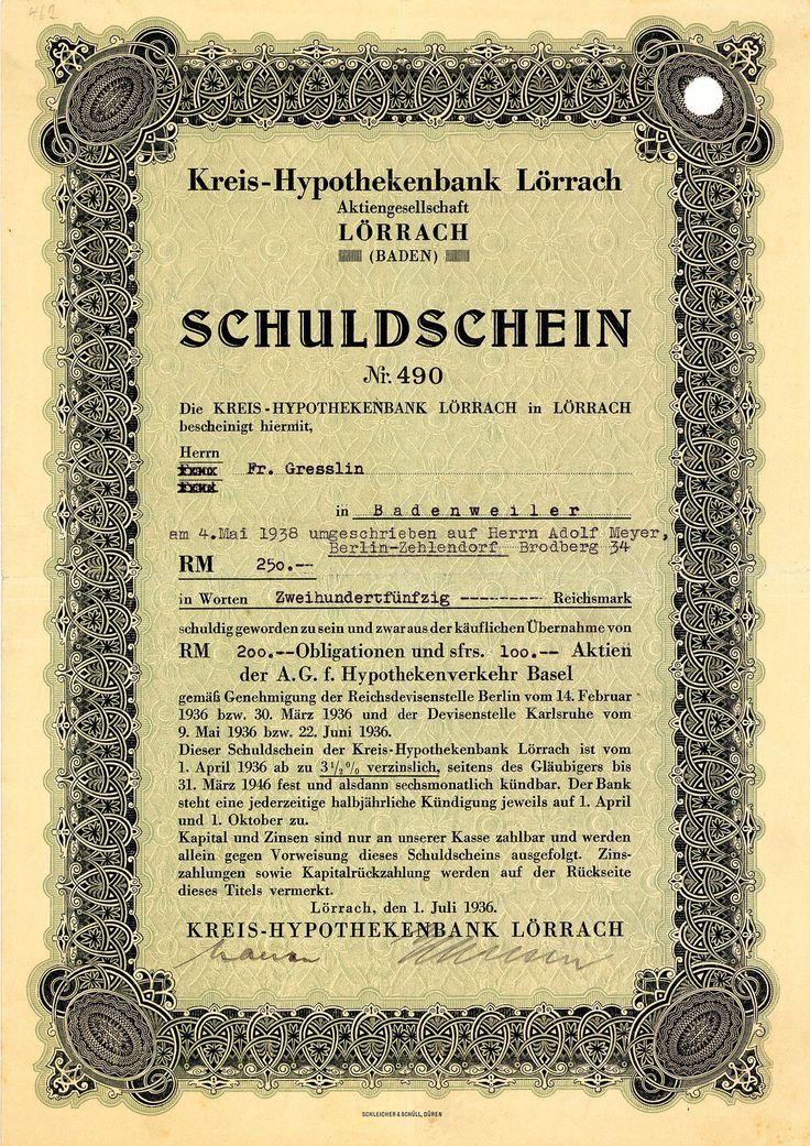 Kreis-Hypothekenbank Lörrach (Baden), Anleihe über 200 RM von 1936 + SELTENST!
