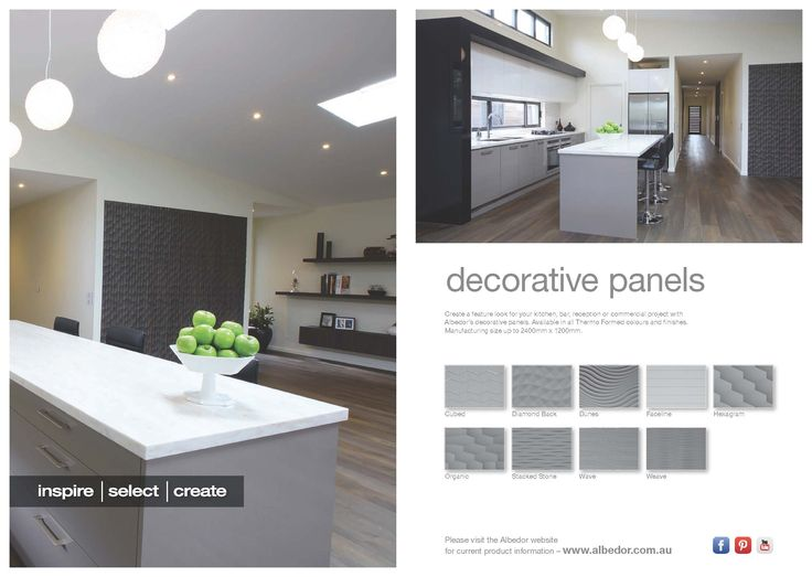Decorative Panels Mini Brochure http://www.albedor.com.au/images/downloads/brochures/2016_decorative_panels_mini_brochure.pdf  For all information on Decorative Panels vist our website- http://www.albedor.com.au/index.php/products/decorative-panels-interior-feature-panels