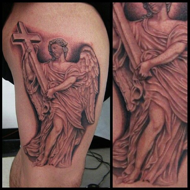 awful grey ink angel with cross tattoo ideas - http://tattooswall.com/awful-grey-ink-angel-with-cross-tattoo-ideas.html #angel, angel tattoos, awful, cross, grey, ideas, ink, tattoo, with