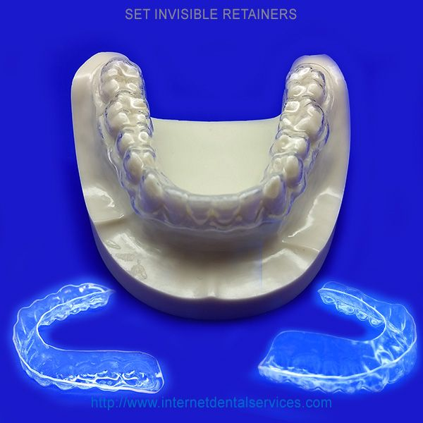 Invisible Retainers.....The most popular and preferred invisible retainer. It is made of a clear plastic that fits over the top of all of your teeth and prevents your teeth from moving.....Price:  $137(Single) & $174(Set)