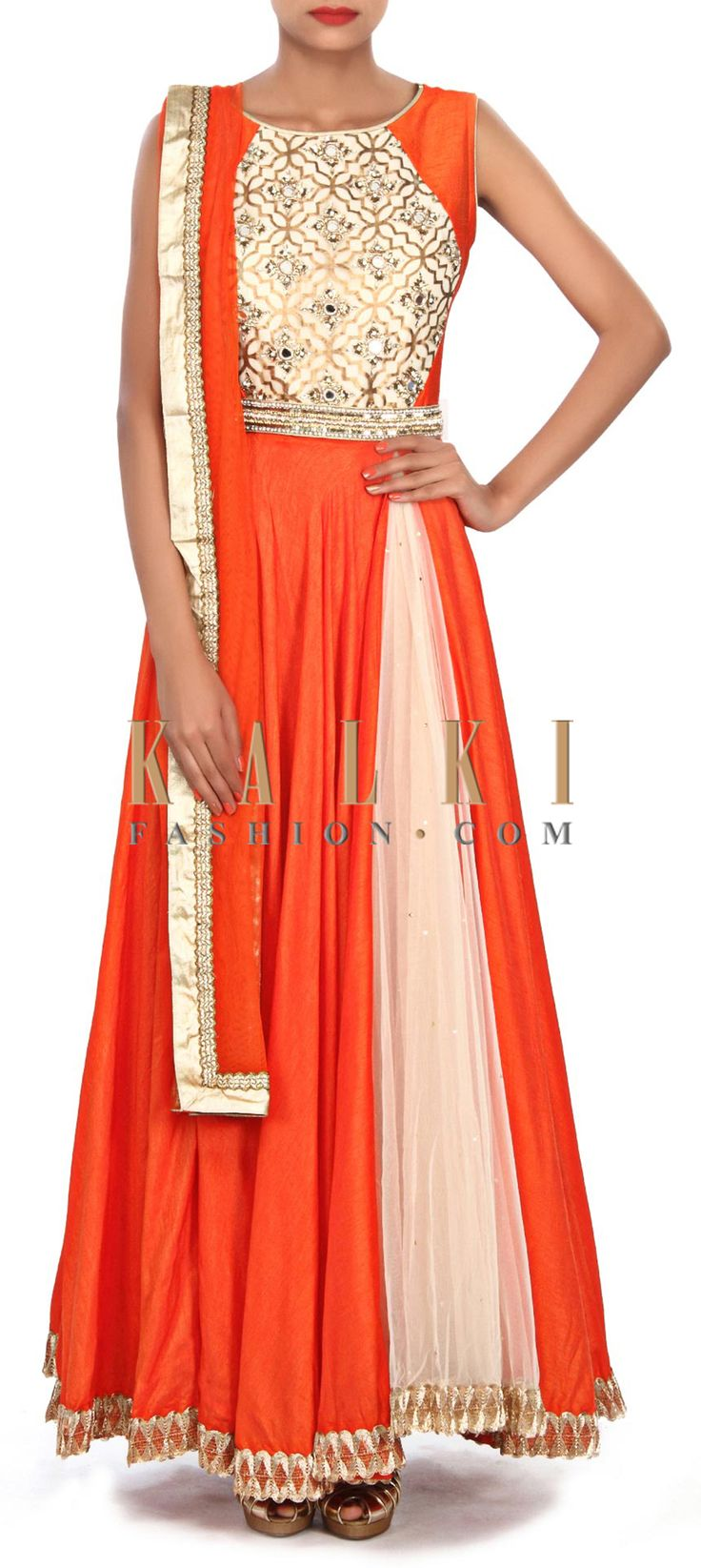 Buy Online from the link below. We ship worldwide (Free Shipping over US$100) Price- $209 Click Anywhere to Tag http://www.kalkifashion.com/orange-anarkali-suit-embellished-in-zardosi-and-kardana-embroidery-only-on-kalki.html
