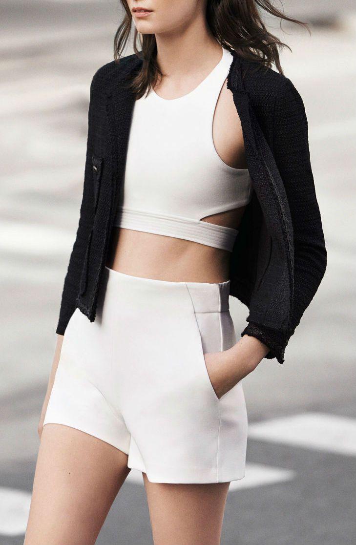 Women's Black Boucle Jacket, White Cropped Top, White Shorts