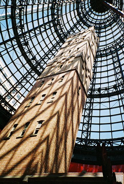Shot Tower, Melbourne Central - This is a heritage listed building that a cone shaped dome was built around in order to preserve it.  Melbourne, Australia, 2006