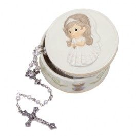 Bless You On Your First Holy Communion - Rosary Box With White Rosary - Precious Moments