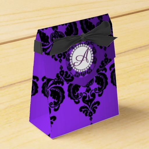Monogram Purple Damask Party Favor Box  POD Pin Party ~ Custom Gifts ...