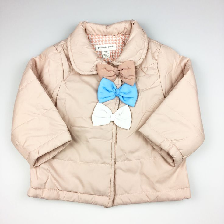 PUMPKIN PATCH, girl's padded jacket with popper fastening and bow details, excellent pre-loved condition (EUC), size 6-12 months, $18