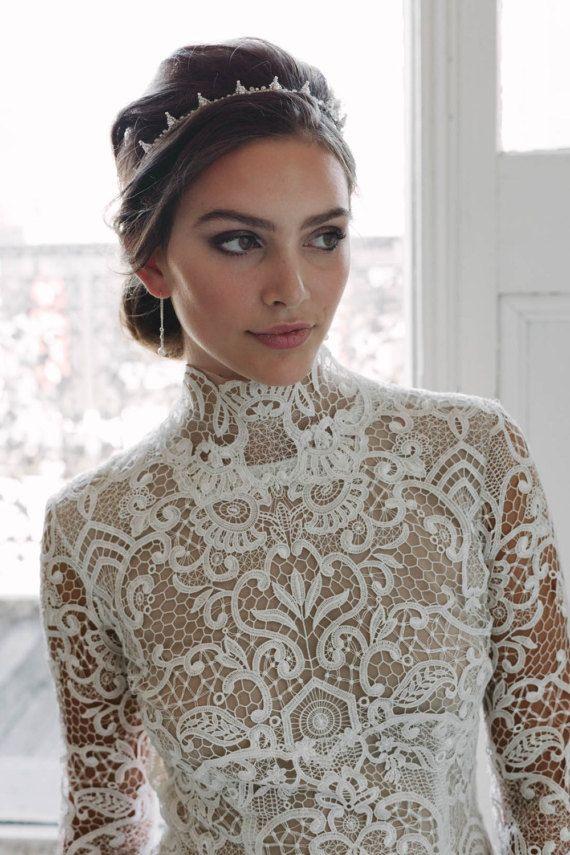 HENRI | silver beaded bridal crown, wedding crowns, bridal headband, wedding headpiece