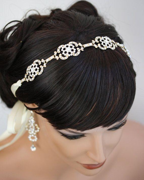 Gold Wedding Headband Rhinestone Ribbon Headband Vintage