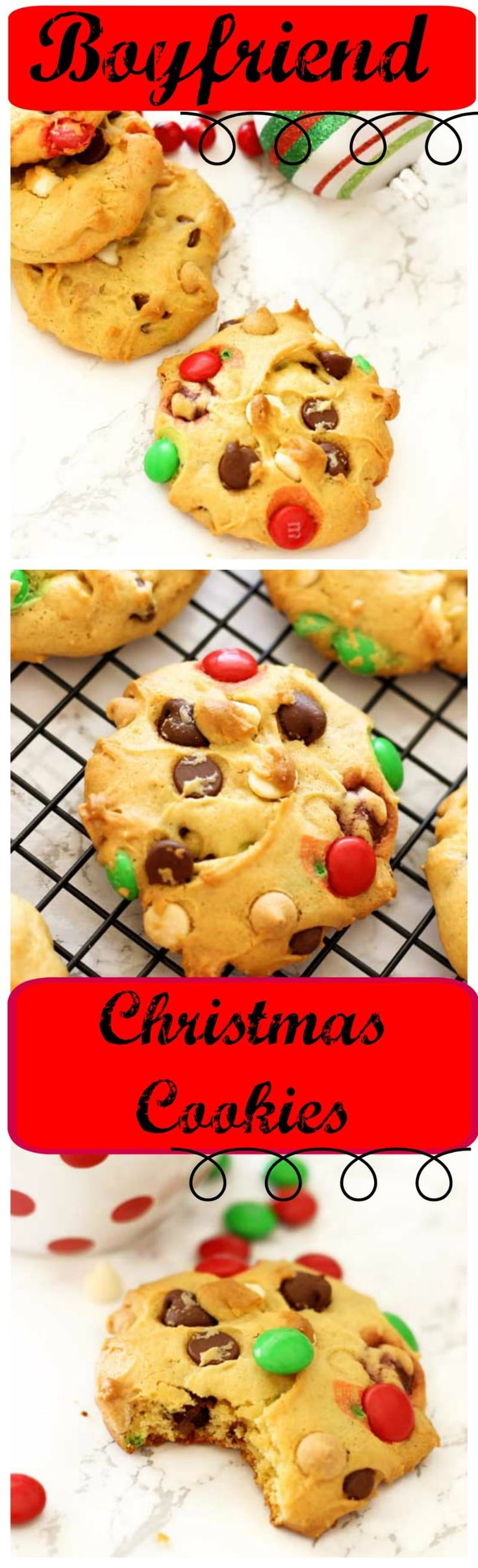 Boyfriend Cookies | Recipes Worth Repeating | Everyone loves a yummy cookie and that's exactly what these Boyfriend Cookies bring to the table…a whole lot of sweet yumminess! These cookies contain white, milk and semisweet chocolates mixed with a creamy peanut butter taste from the Reese's Pieces and peanut butter chips. These cookies are  perfect for the holiday season!