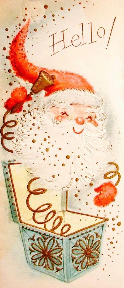 Retro Santa. Jack In The Box Santa. Vintage Christmas Card. Retro Christmas Card. Christmas Hello!
