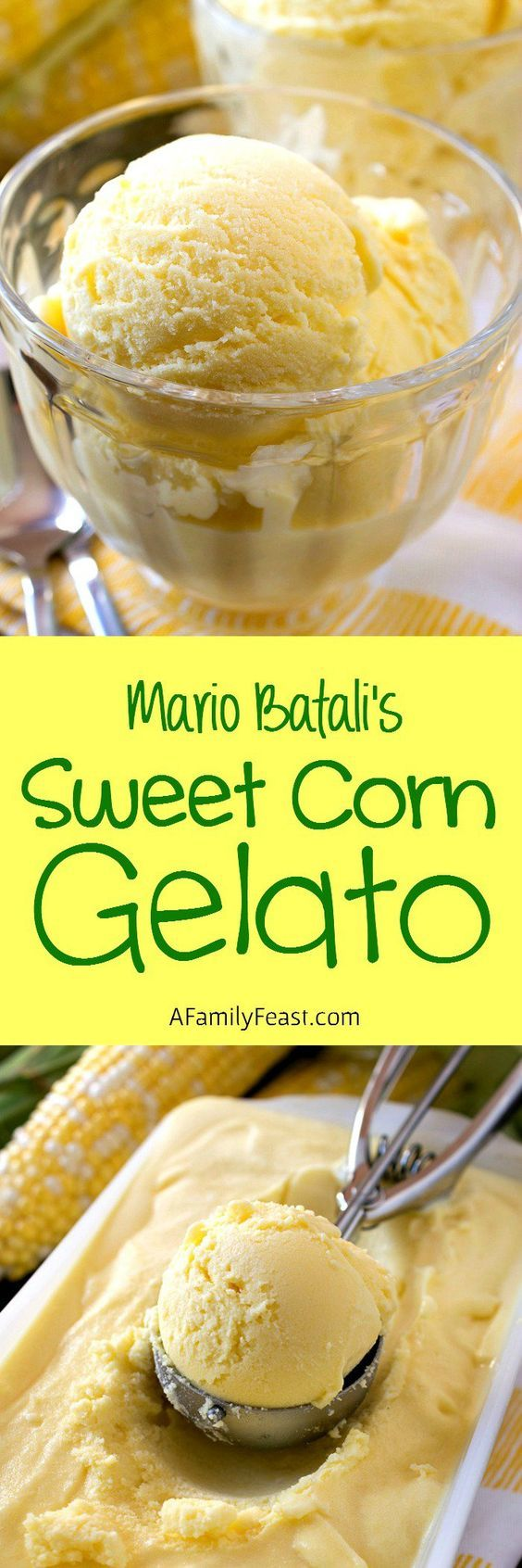 Sweet Corn Gelato ~ adapted from a recipe by Mario Batali, this sweet corn gelato is a delicious taste of summer!