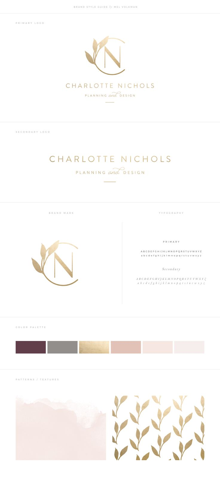 Charlotte Nichols Wedding Brand by Mel Volkman Gold Foil Elegant Branding Custom Logo Modern Logo Floral Botanical Modern Calligraphy Feminine Brand