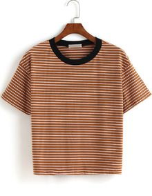 Contrast Collar Striped Loose T-shirt ROMWE.com