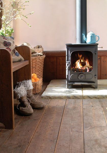 http://www.mobilehomerepairtips.com/howtoinstallawoodburningstoveinamobilehome.php has some ideas on shopping for a wood burning stove and home installation.