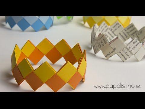 """Cómo hacer paso a paso pulseras de papel con """"nudos"""" de origami. Se necesitan de 20 a 24 tiras de papel (dependiendo si es para dulto o niño y tamaño de la m..."""