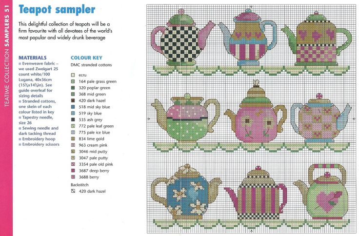Cross Stitch tea pots