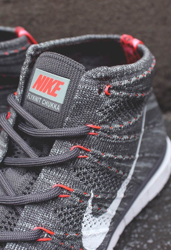 »NIKE Free Flyknit Chukka Details« #nike #sneakers #shoes #fashion #style #gray #neon #orange