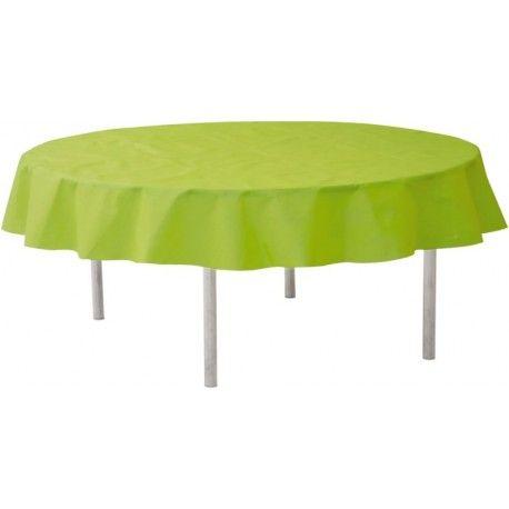 Nappe ronde vert anis en intissé opaque 240 cm