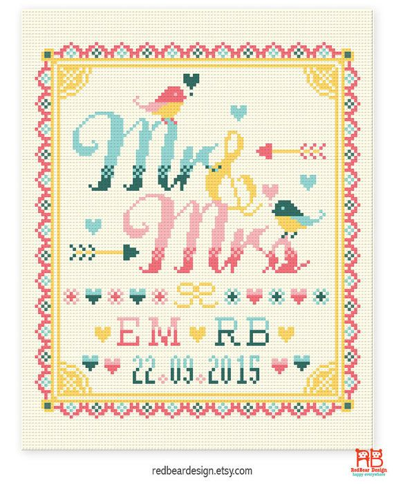 Wedding cross stitch pattern Mr and Mrs with love birds  by redbeardesign