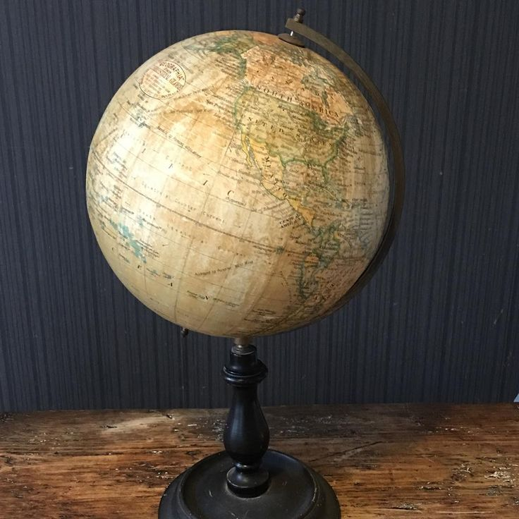 Geographia Globe Great Piece Ebonised Stand And Brass Bracket Condition Unrestored