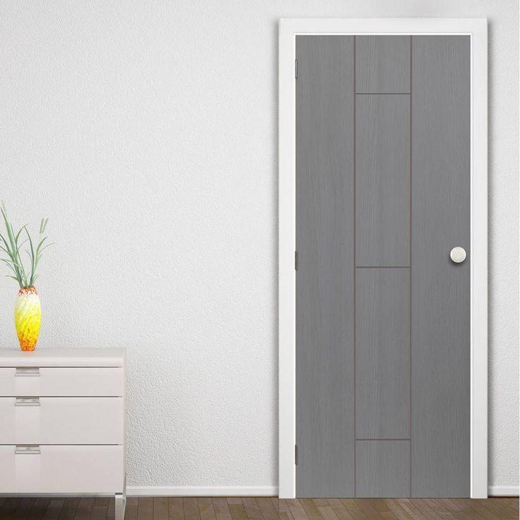 Nuance Ardosia Slate Grey Flush Door, Pre-finished with subtle natural tones on a stylish grooved panel design.