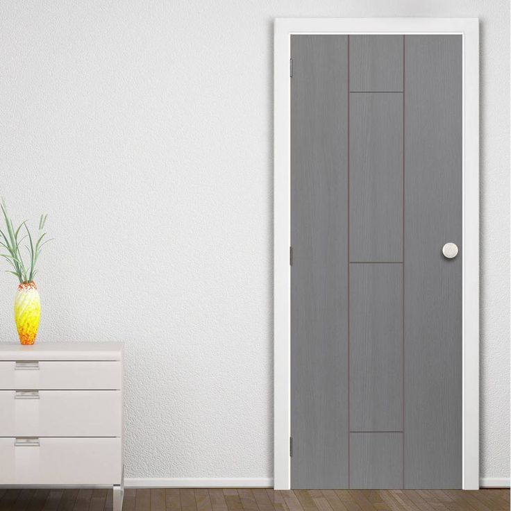 Nuance Ardosia Slate Grey Flush Door, Pre-finished with subtle natural tones on a stylish grooved panel design.