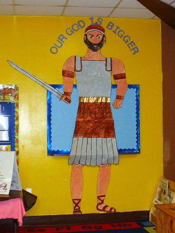 """Our God is Bigger"".  Our Goliath replica that the kids helped to paint. We took pictures of each child next to Goliath. He is big, but ... Our God is Bigger!"