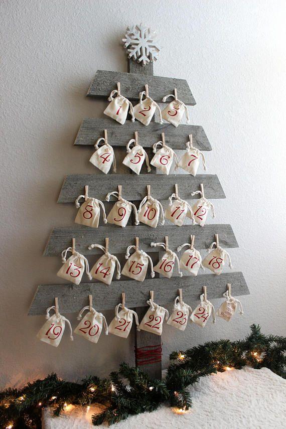 Christmas advent calendar tree wood rustic farmhouse