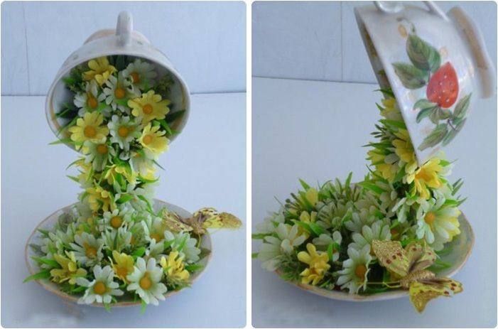 DIY home decor idea gift coffee cup artificial flowers:-) cup Floats by using cable wire:-)
