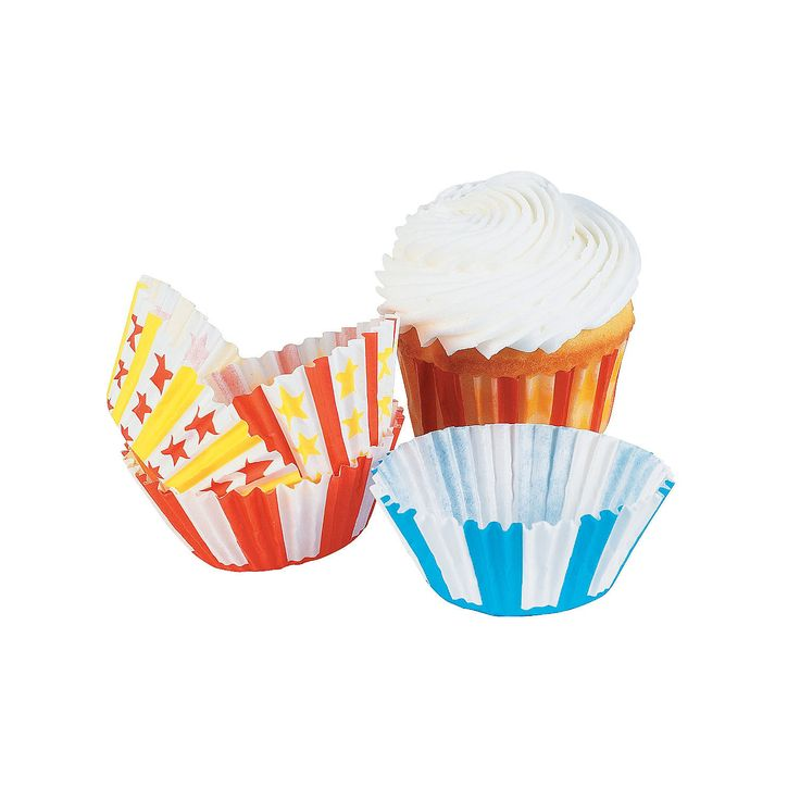 "Big Top Cupcake Liners - OrientalTrading.com.  1 7/8"" diameter so for the smaller cupcakes or could use to put candy favors in.  $3.00 for 100 pcs."