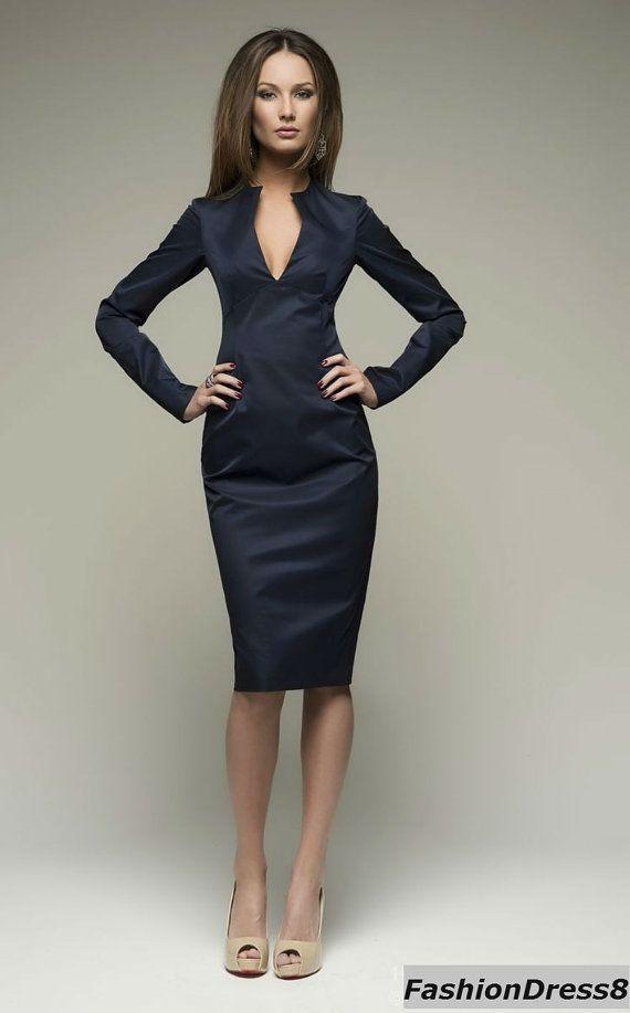 Dunkel blau Kleid Bleistift Länge Knie Casual von FashionDress8