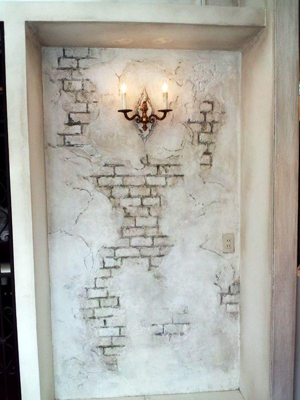 ヨーロッパアンティーク│レンガ壁|擬岩│モルタル造形施工例│エス・コート