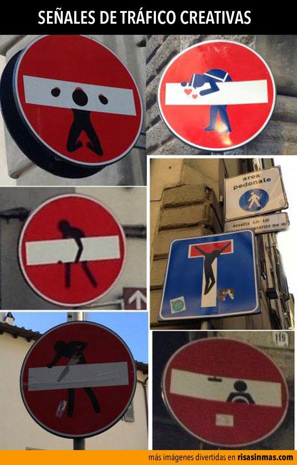 Señales de tráfico creativas (y divertidas).