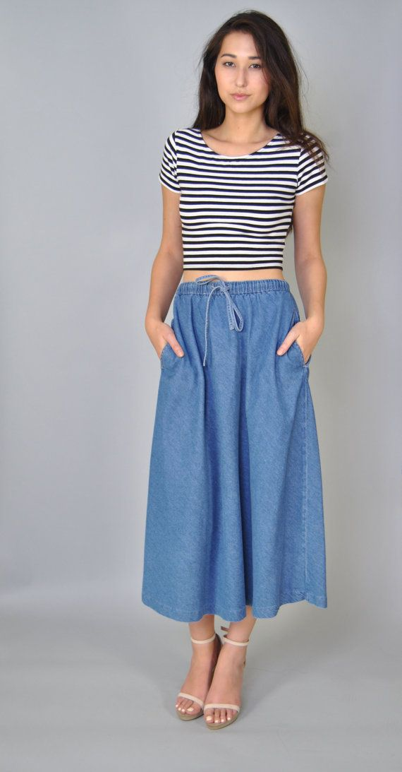 Vintage Denim Skirt 70s Chambray Full Drawstring Denim Jean MIDI Skirt S M | Vintage Denim ...