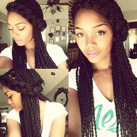 The conventional and most popular senegalese twist hairstyles are long, straight strands of hair twisted with synthetic hair from root to tip.