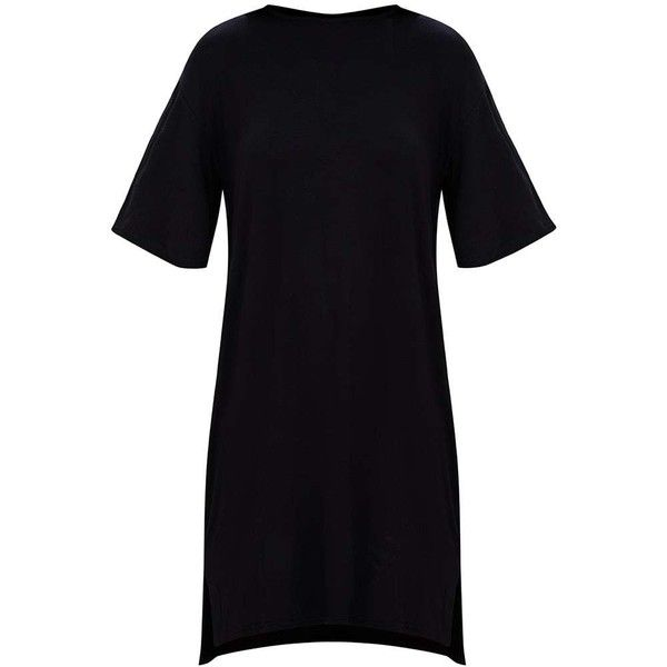 Charcoal Jersey Stepped Hem T Shirt Dress (£13) ❤ liked on Polyvore featuring dresses, tee shirt dress, jersey tee dress, tee dress, charcoal dress and charcoal grey dress