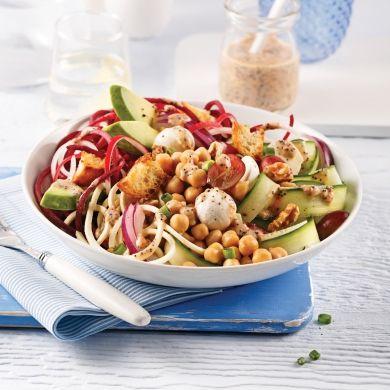 Salade de légumes spirales, pois chiches et bocconcinis - Recettes - Cuisine et nutrition - Pratico Pratique