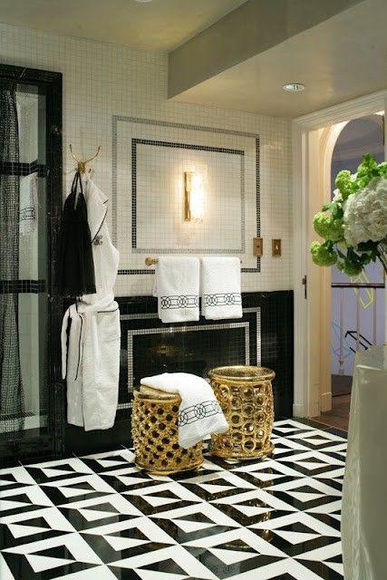 black and white tiled bath floor
