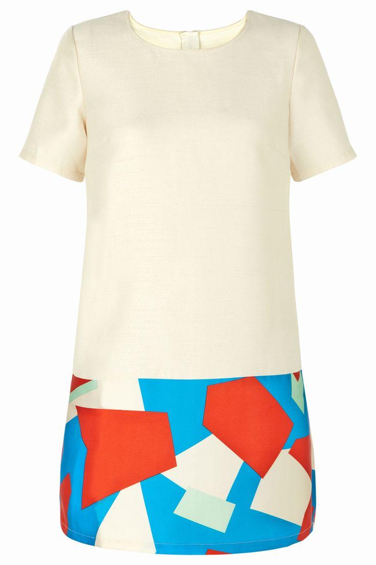 Cream Aztec Hem Tunic Dress
