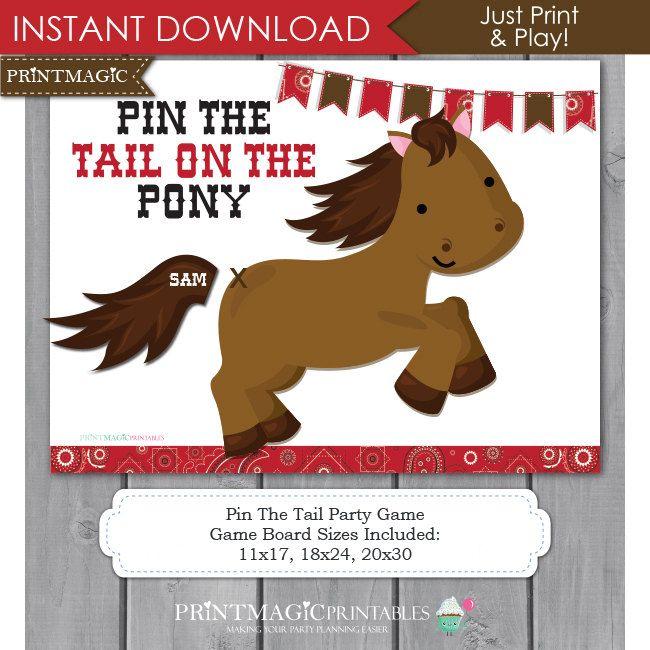 Pasador de la cola en el Pony para imprimir fiesta por printmagic
