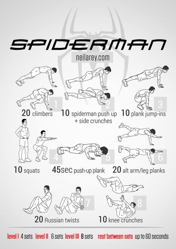 Spider-man workout. click the picture for Jedi, Wolverine, Batman and more themed workouts.