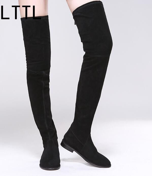 new fashion round toe woman boots black stretch fabric thigh high boots 2017 flat thigh high boots long boots