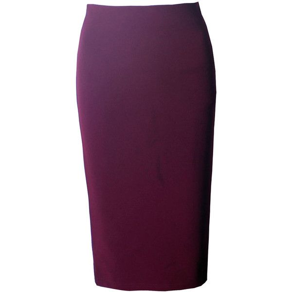 Basic Solid Slit Pencil Midi Skirt (1,710 INR) ❤ liked on Polyvore featuring skirts, summer skirts, calf length pencil skirts, purple skirt, slit pencil skirt and mid calf pencil skirts