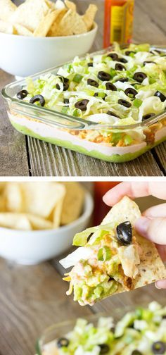 Perfect healthy game day appetizer. Layers of:  guacamole, taco seasoned chicken, salsa/sour cream, cheese, lettuce, green onions, & black olives.