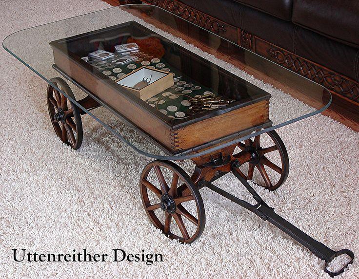 Repurposed antique cart coffee table