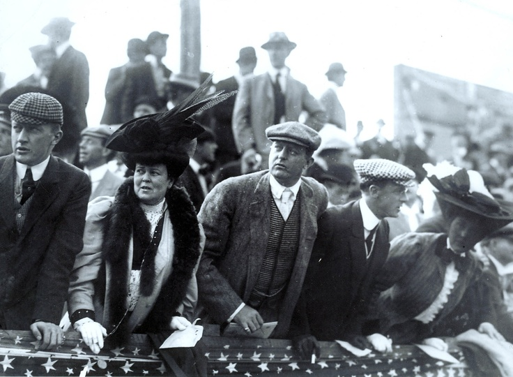 Alva Vanderbilt Belmont (2nd from left) and her husband O.H.P. Belmont attended William K. Vanderbilt II's 1906 Vanderbilt Cup Race. (Alva inspired Hermione Parrish in TEMPEST, and also appeared in the novel.)