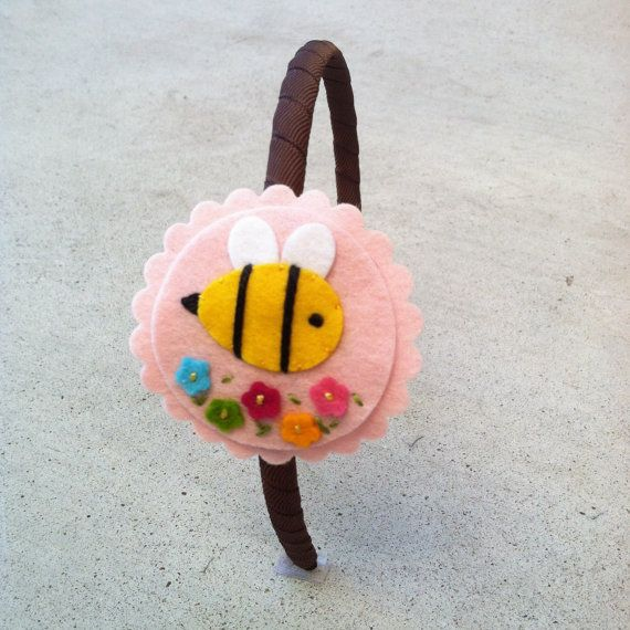 NEW+++Bumblebee+Headband+Soft+Pink+Wool+Felt+by+sundropclips,+$8.00