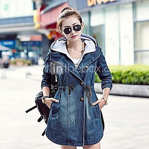 TS Women's Fashion Jeans Hooded Wind Coat - RUB руб2 587,32