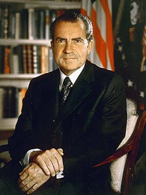 Richard Nixon (R) (1913-1994) 37th President of the United States and the only president to resign office....because of the Watergate burglaries.
