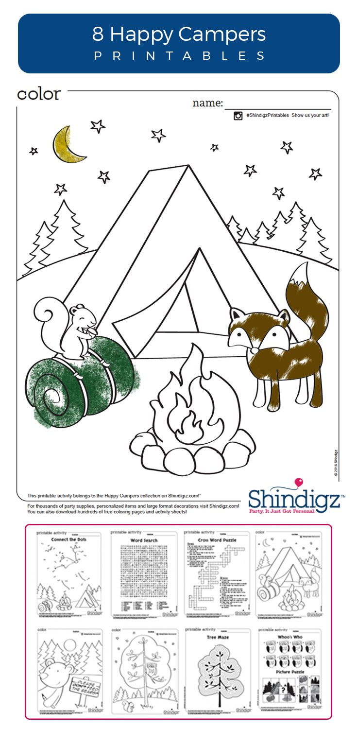 Free Camping Printables Like Crossword Puzzles And Coloring Pages Are Great For A Birthday Party Or Just Regular